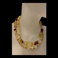 Rare Gorgeous Statement Yellow Banded Chunky Necklace With Gold Plated Beads