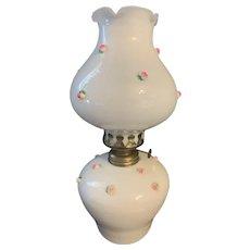Vintage Milk Glass Oil Lamp With Pink Rose Flower