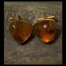 Gorgeous Russian Gilt Honey Amber Cufflinks