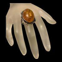 Fabulous Vintage Large Russian Baltic Honey Amber Ring