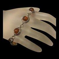 Gorgeous Sterling Silver Baltic Honey Amber Bracelet