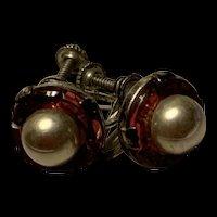 Art Deco Sterling Silver Pearl Screw Back Earrings