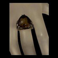 Gorgeous Vintage Designer PZ Israel Smokey Quartz Sterling Silver Ring With Fully Hallmarks