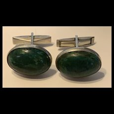 Gorgeous ISRAEL Sterling Silver Malachite Stone Cufflinks