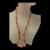 Genuine Vintage Angle Skin Coral Branch Necklace With Sterling Clasp