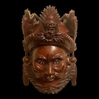 Vintage Large Chinese Carved Red Wooden Face Wall Hanging Art Sculpture