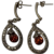 Art Deco Vintage Natural Garnet With Marcasite Dangle Earrings