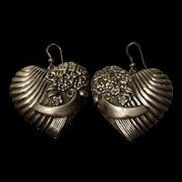 Gorgeous Vintage Large Heart With Floral Sterling Drop Earrings