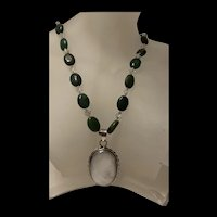 Gorgeous Vintage Mother Of Pearl Pendant With Malachite Beads  Necklace