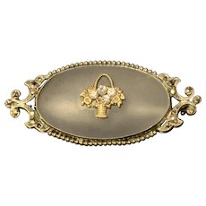 Victorian Camphor Glass With Flower Basket Brooch/Pin
