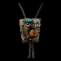 Rare Large Vintage 1940's Handmade Sterling Silver Turquoise  Bear Claw Navajo Bolo Tie Signed
