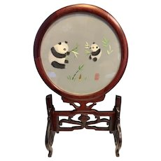 Gorgeous Chinese Double Sided Embroidered Panda Wood Table Screen On Teak Wood Stand Signed