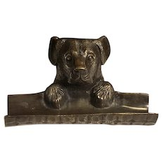 Antique Art Nouveau Bronze Dog Pin Tray