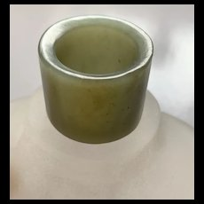 Antique Chinese Qing Dynasty Celadon Nephrite Jade Archer's Thumb Ring