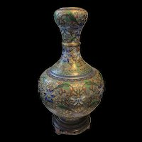Stunning Vintage Large Chinese Cloisonné Champleve Enamel With Flower Vase