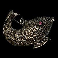 Art Deco Sterling Silver Marcasite Fish Brooch