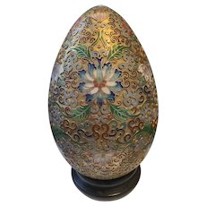 Gorgeous Vintage Chinese Champleve Cloisonné Egg On the wooden Stand