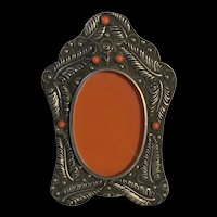 Fabulous Vintage Italy Ornate Silver Tone With Coral Beads Photo Frame  Holder
