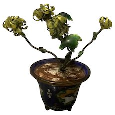 Stunning Miniature Chinese Cloisonné Flower Pot With Enameled Flower
