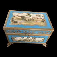 Antique 19 Century French Large Turquoise Porcelain Box Castle Enamel Bronze Mount Ormolu