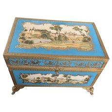 Antique 19 Century French Large Turquoise Porcelain Box Castle Enamel Bronze Mount Ormolu