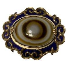 Antique Victoria 9K Gold Bullseye Banded Agate & Blue Enamel Ornate Mourning Brooch