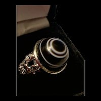 Stunning Natural Banded Agate Bullseye Ring