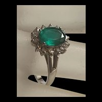 Gorgeous Vintage Synthetic Emerald Sterling Silver Ring