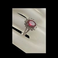 Gorgeous Vintage Synthetic Ruby Sterling Silver Ring With Fully Hallmarks