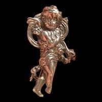 Fabulous Art Deco Sterling Silver Cupid Angel Lapel Brooch