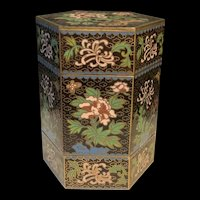 Vintage Chinese Cloisonné Enameled Hexagon Floral Trinket Box