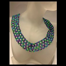 Gorgeous Handmade Colorful Glass Bead Netted Necklace
