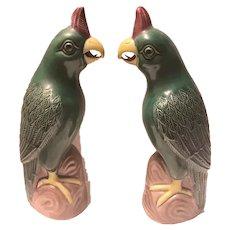 Stunning Vintage Chinese Export Porcelain Parrot Bird Figures