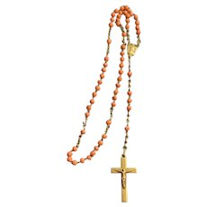 Antique French Coral Beads & Sterling Silver Rosary, Catholic religious Jewelry Necklace