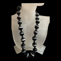 "Gorgeous Victorian Style Scottish Bullseye Banded Agate Beaded Necklace Strand 18"""