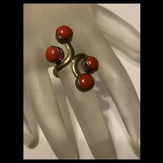 Stunning Sponge Coral Sterling Silver Ring