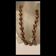 Gorgeous Vintage Victorian Style Banded  Bullseye Agate Beaded Necklace