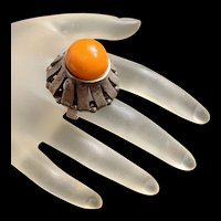 Rare Gorgeous Antique British Butterscotch Amber Sterling Silver Statement  Ring With Fully Hallmarks