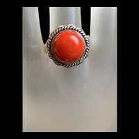 Vintage Native America Navajo Sterling Silver Coral Ring