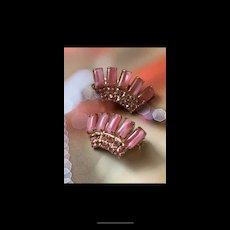 Fabulous Vintage Shades Of Pink Rhinestone Clip Earrings