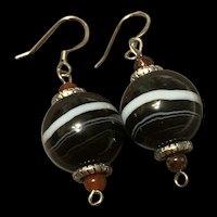 Gorgeous Victorian Style Scottish Bullseye Banded Agate Sterling Earrings