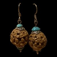 Stunning Vintage Chinese Carved Hediao Nut Seed Pit With Turquoise Sterling Earrings