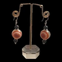 Gorgeous Vintage Victorian Style Banded Bullseye Agate With Black Onyx Earrings