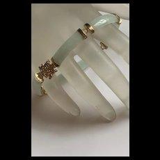 Fabulous Vintage Chinese 14k Gilt 925 Sterling White Green Jade Linked Bracelet