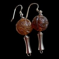 Rare Gorgeous Vintage Chinese Sterling Silver Art Deco Carved Amber SHOU Bead Dangling Earrings