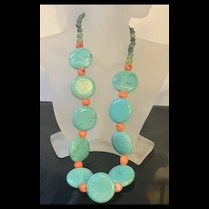 Bobo Statement Turquoise And Coral South West Necklace