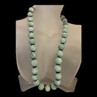 Gorgeous 1920's Chinese Apple Green Jadeite SHOU Longevity Beads Necklace