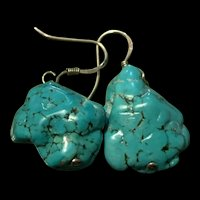 Stunning Vintage Turquoise Nugget Stone Sterling Silver Dangling Earrings