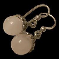 Gorgeous Vintage Sterling Silver White Jade Earrings