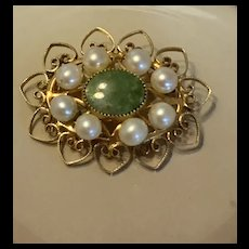 Gorgeous H.G.1/20 12K Gold Filled Pearl With Aventurine Heart Pin